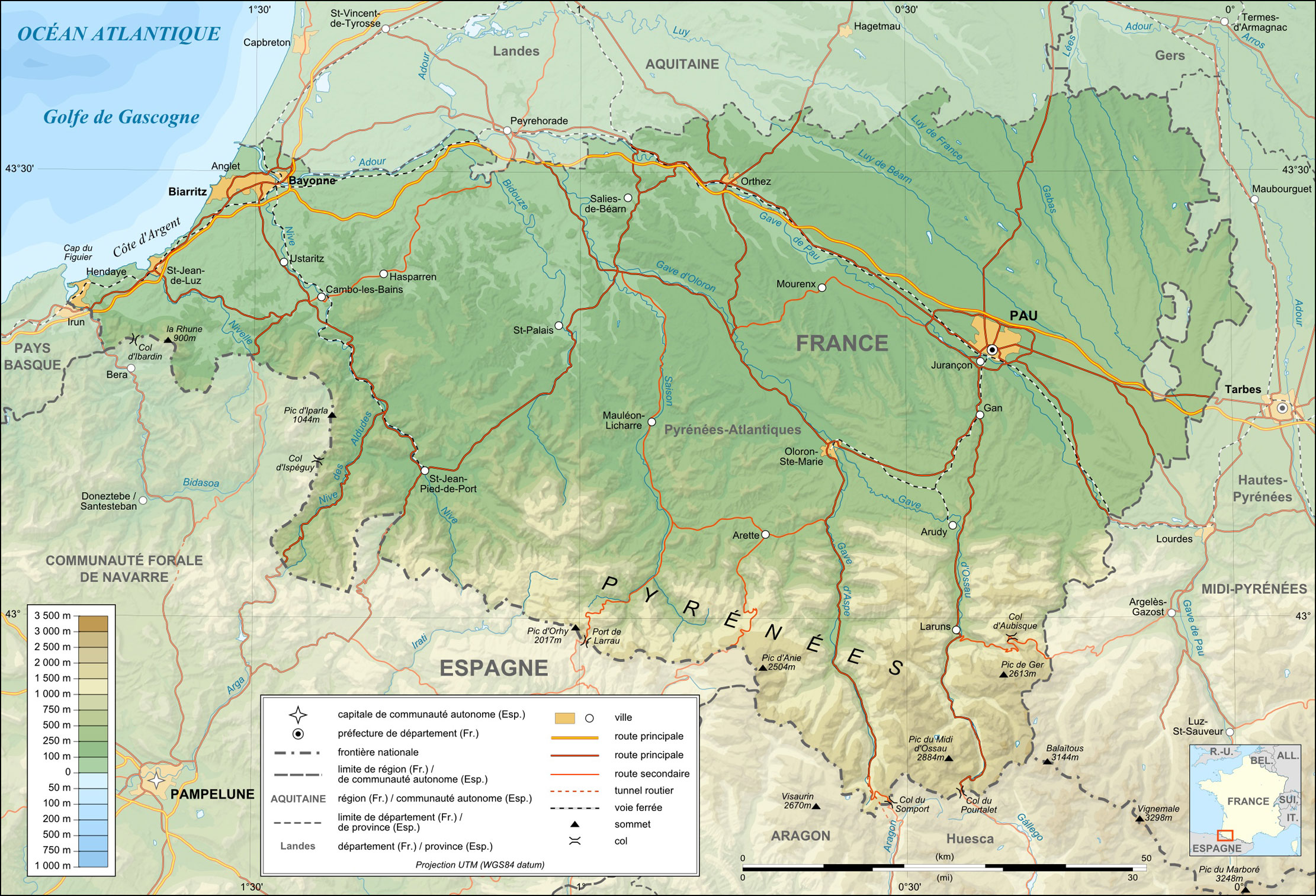 Pyrenees Atlantiques Topographic Map Fr