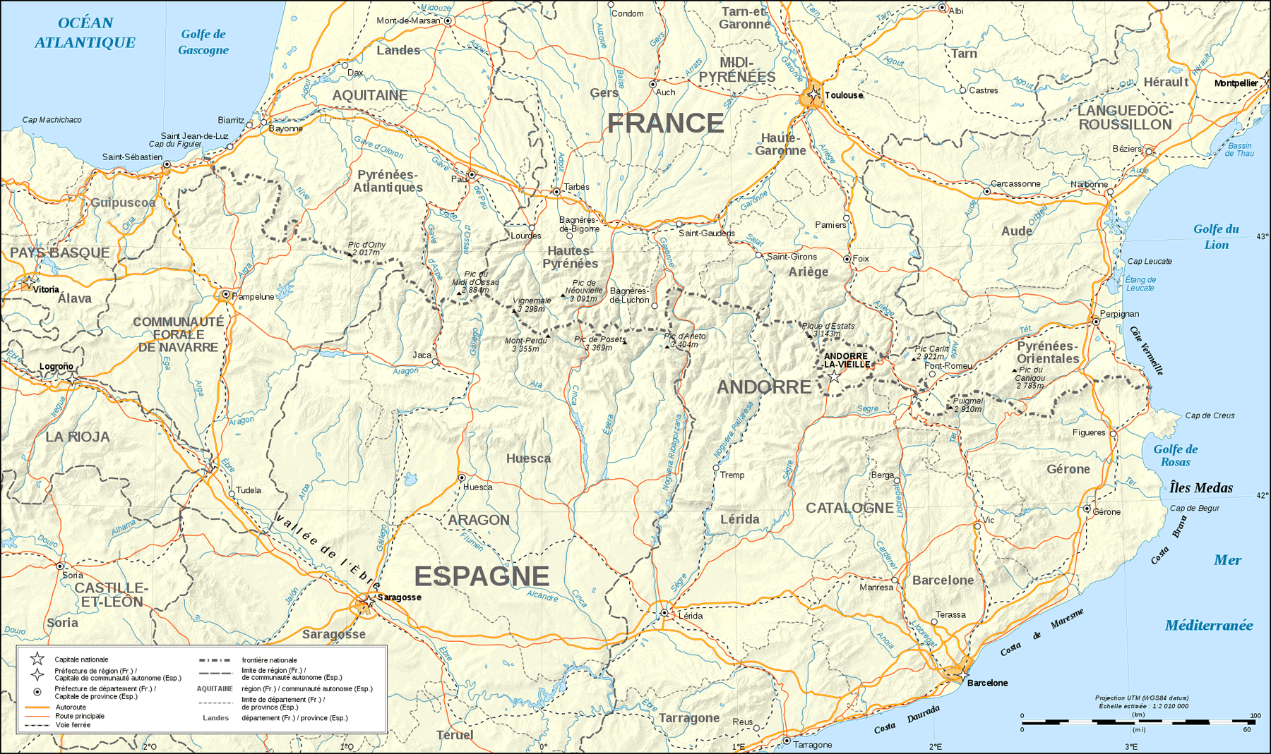 Pyrenees Map Shaded Relief Fr