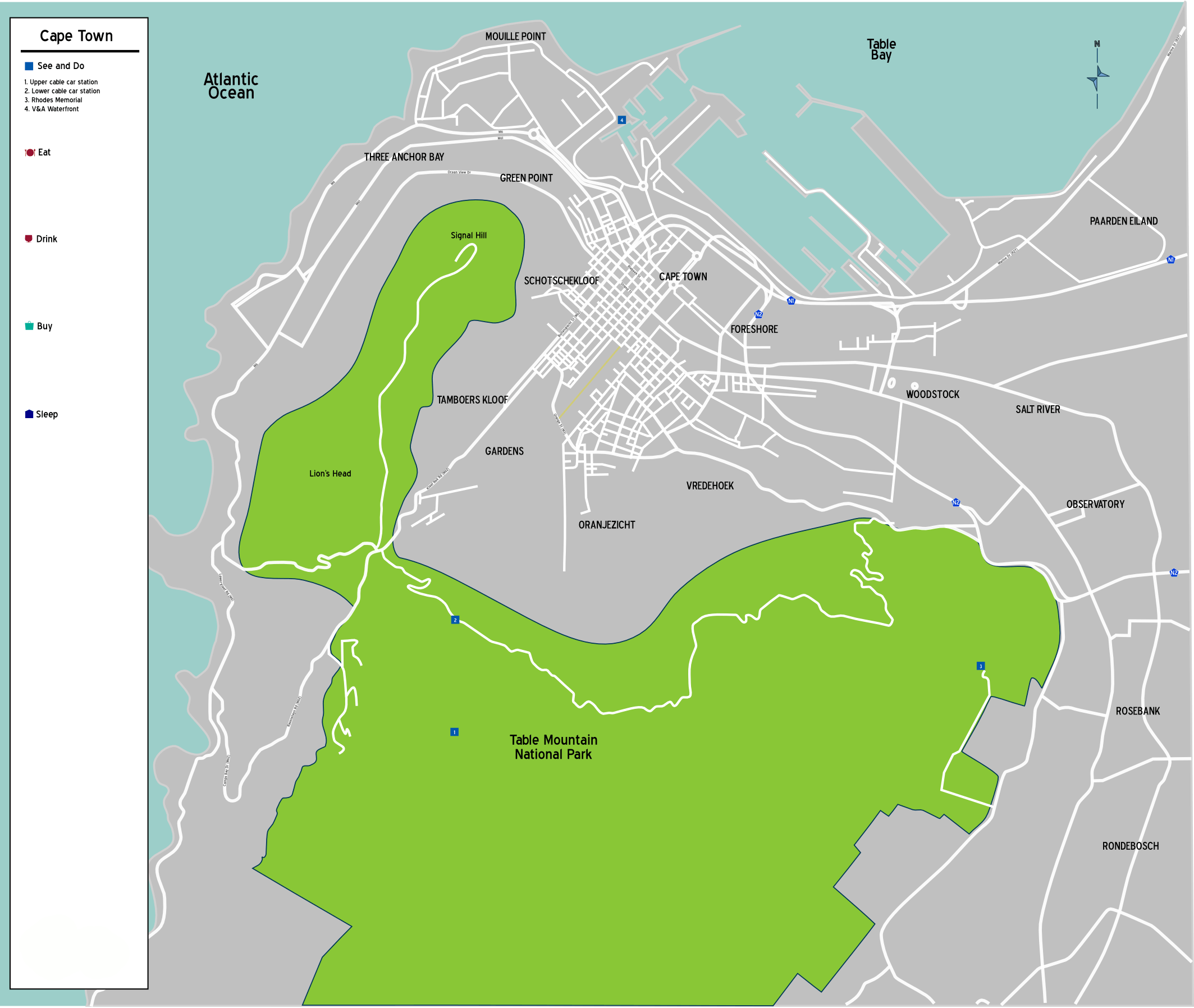 South Africa Cape Town Map