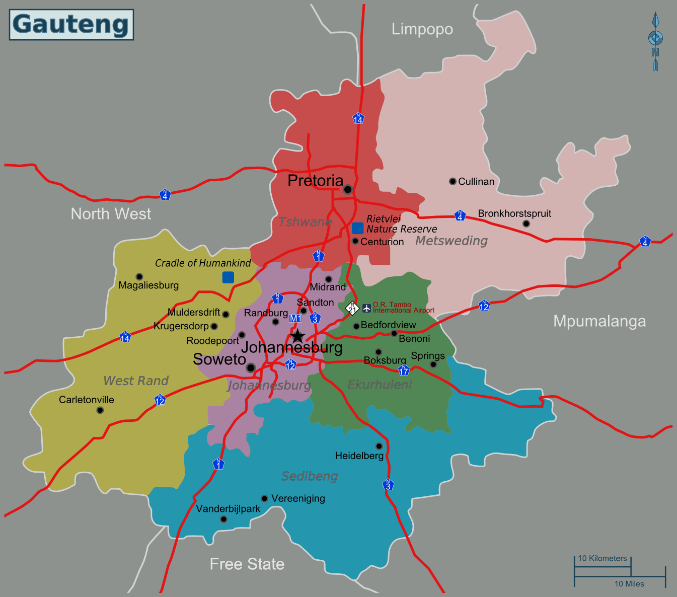 South Africa Gauteng Map