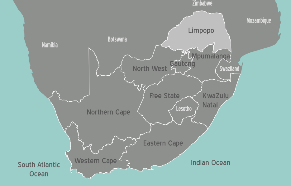 South Africa Limpopo Map