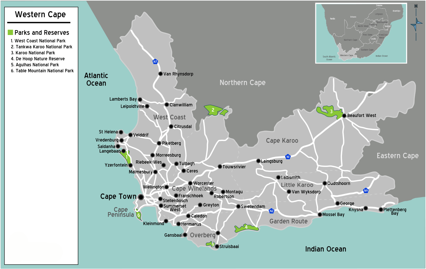 South Africa Western Cape Map