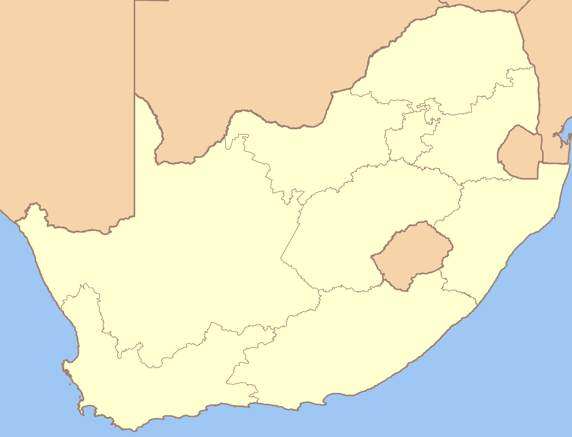South Africa Blank Locator Map