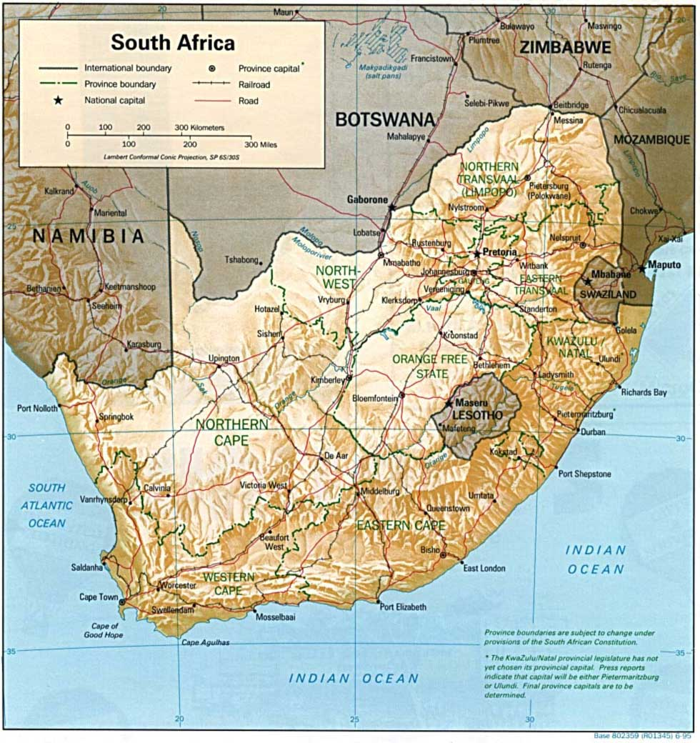 South Africa Relief Map
