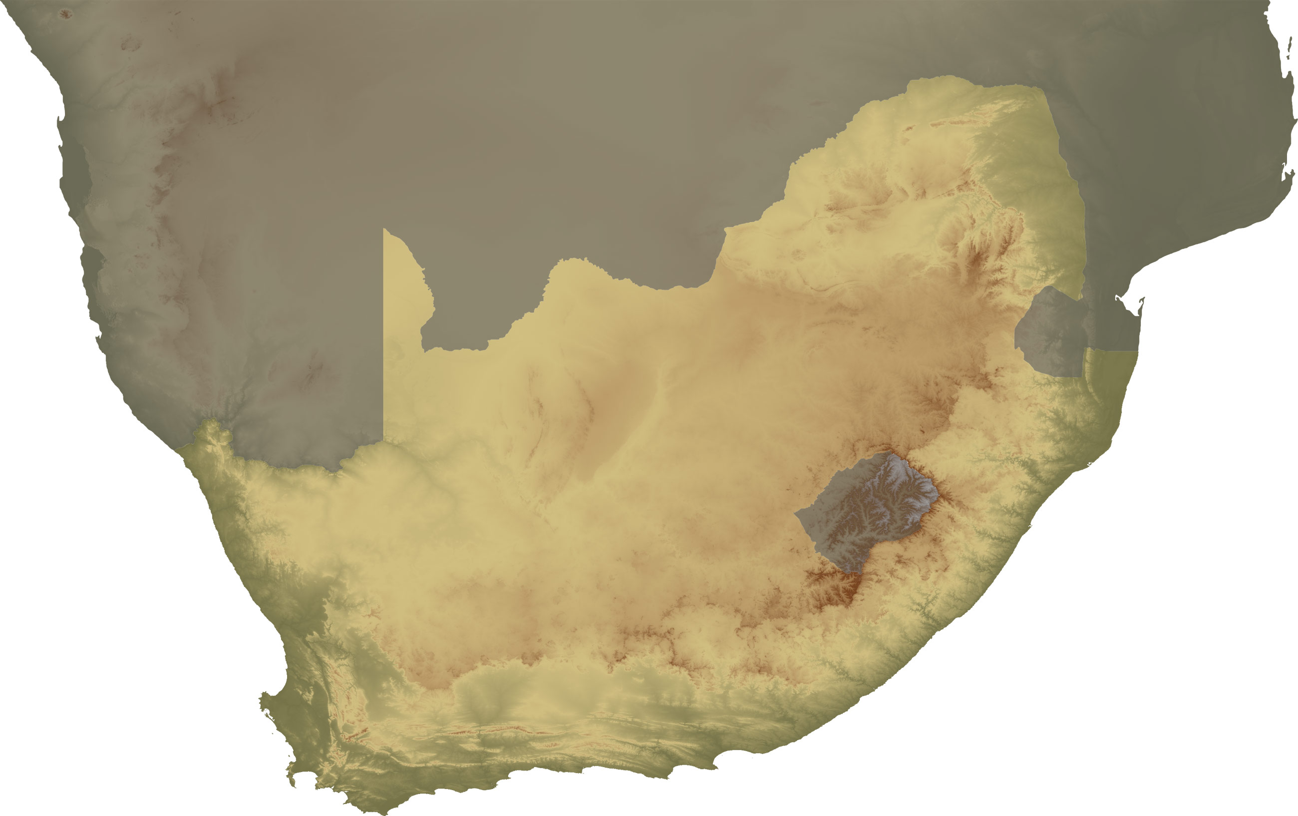 South Africa Topo Continent