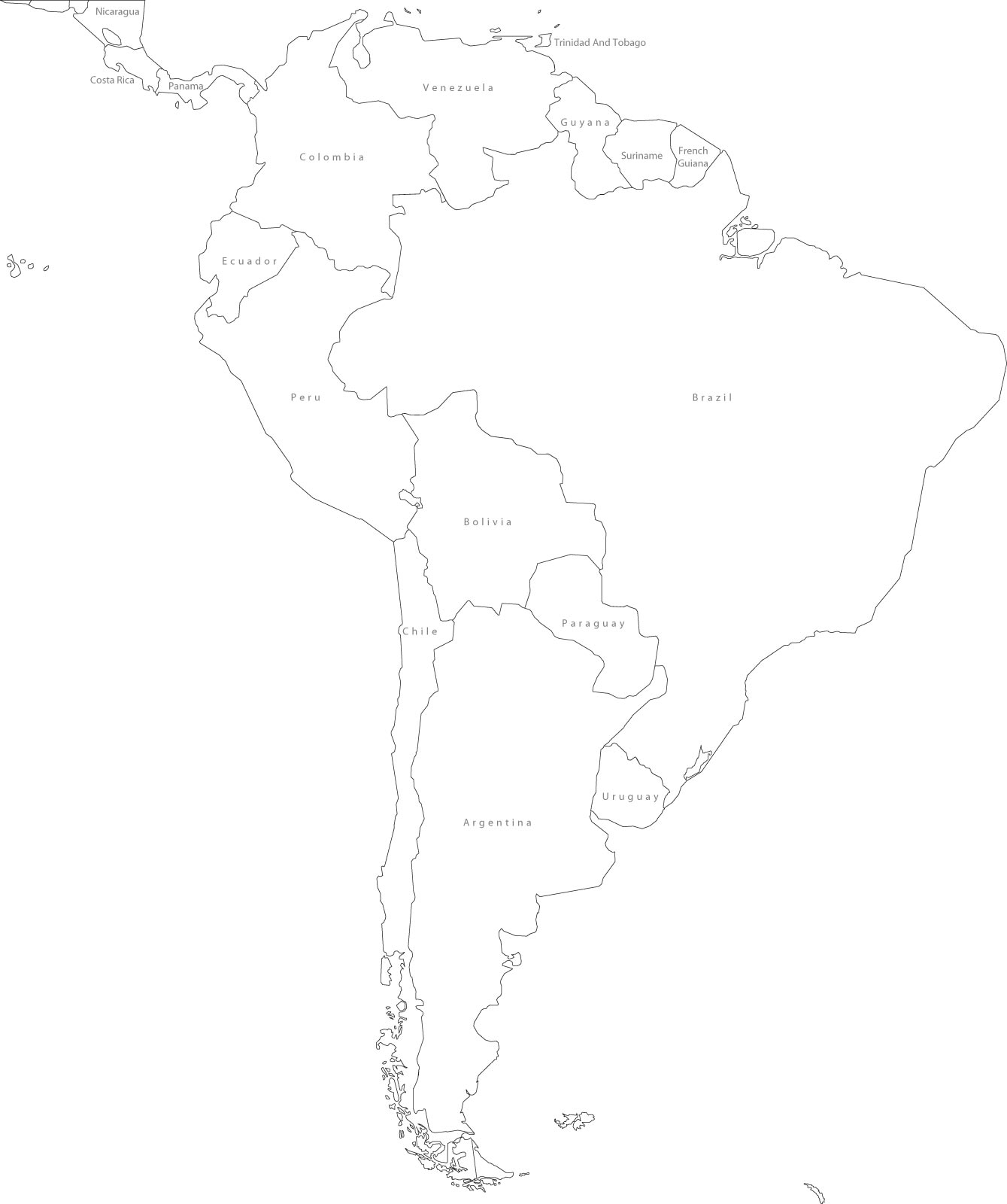 South America Blank Political Map