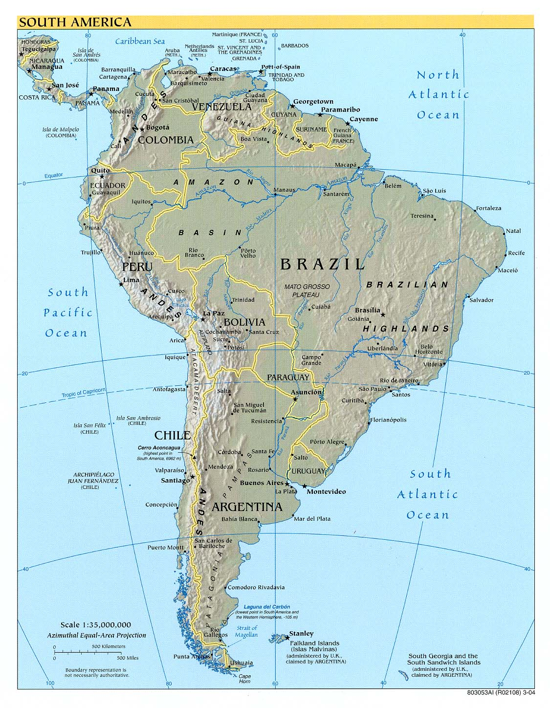 South America Physical Map 3