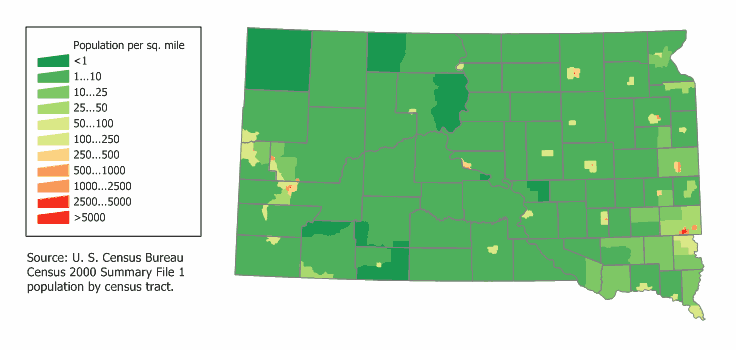South Dakota Population Map