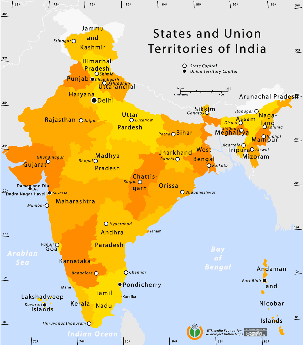 State And Union Territories Map