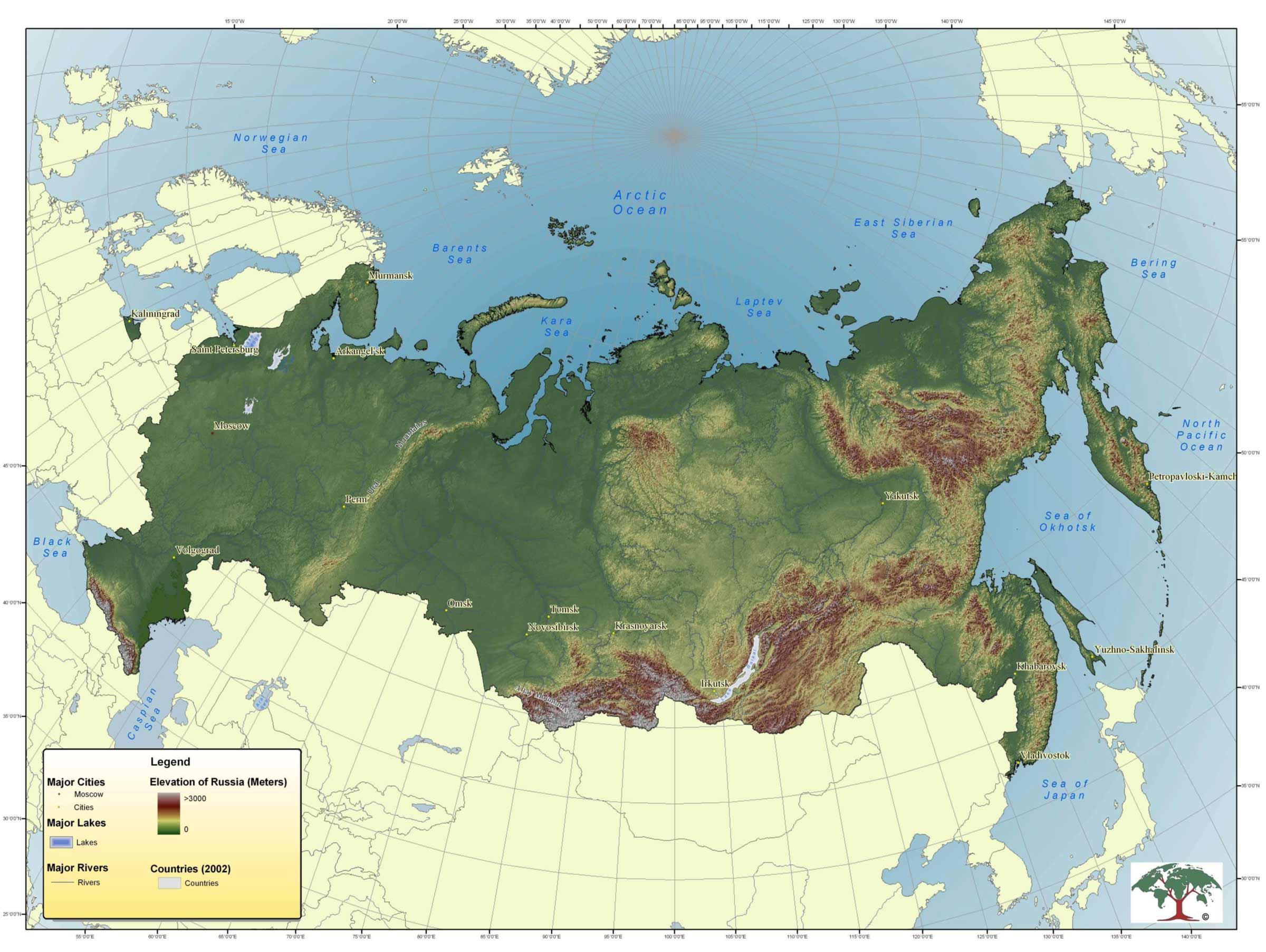Topographic Map of Russia