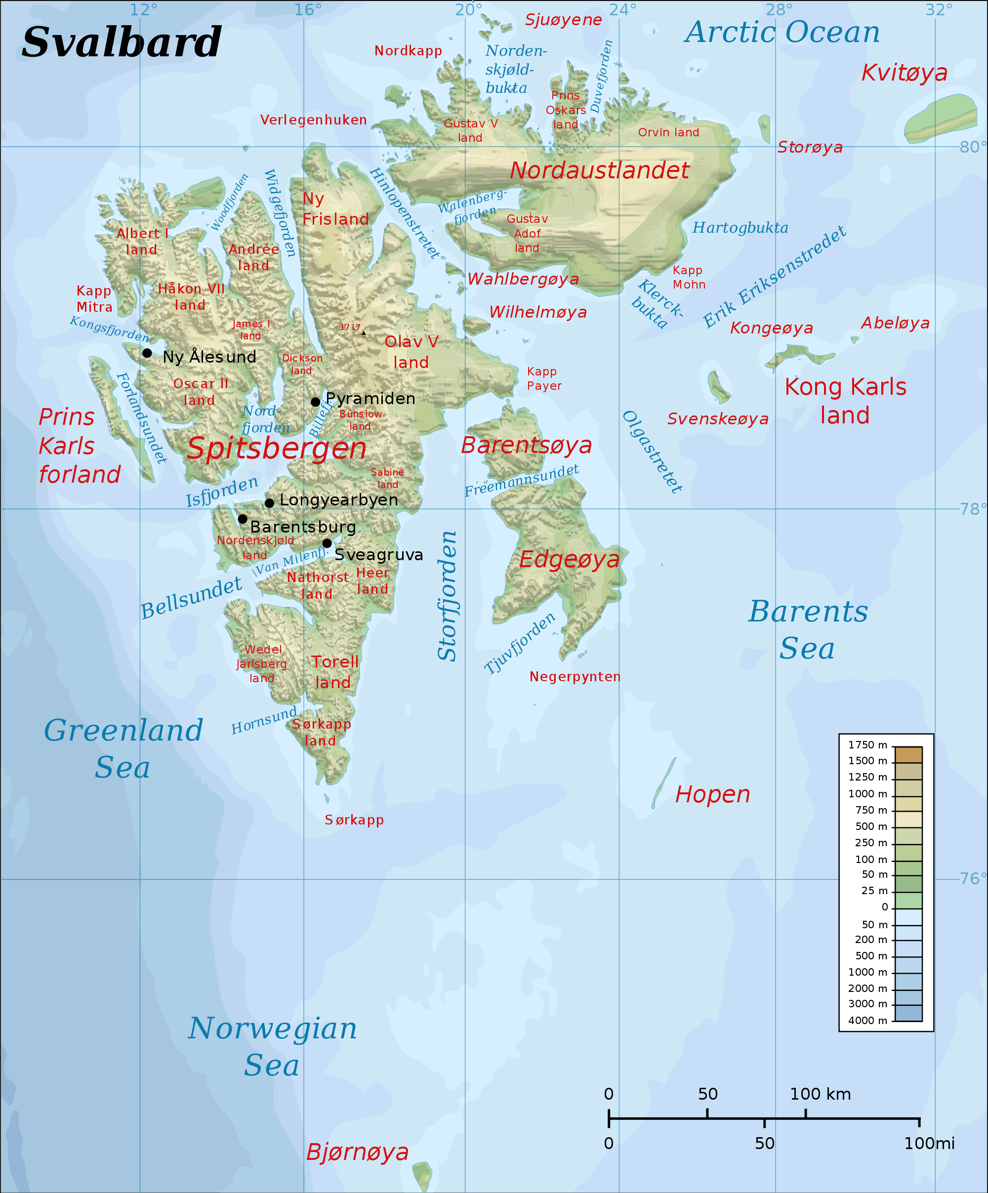 Topographic Map of Svalbard