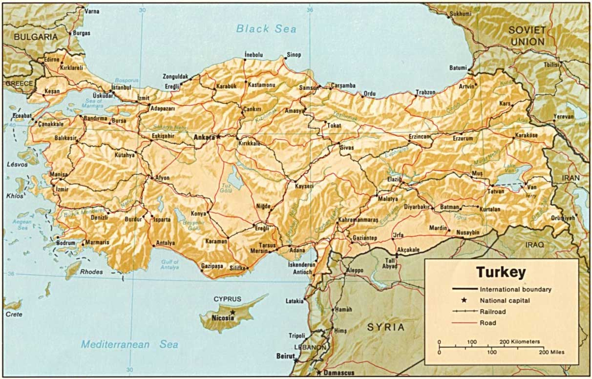 Turkey Relief Map