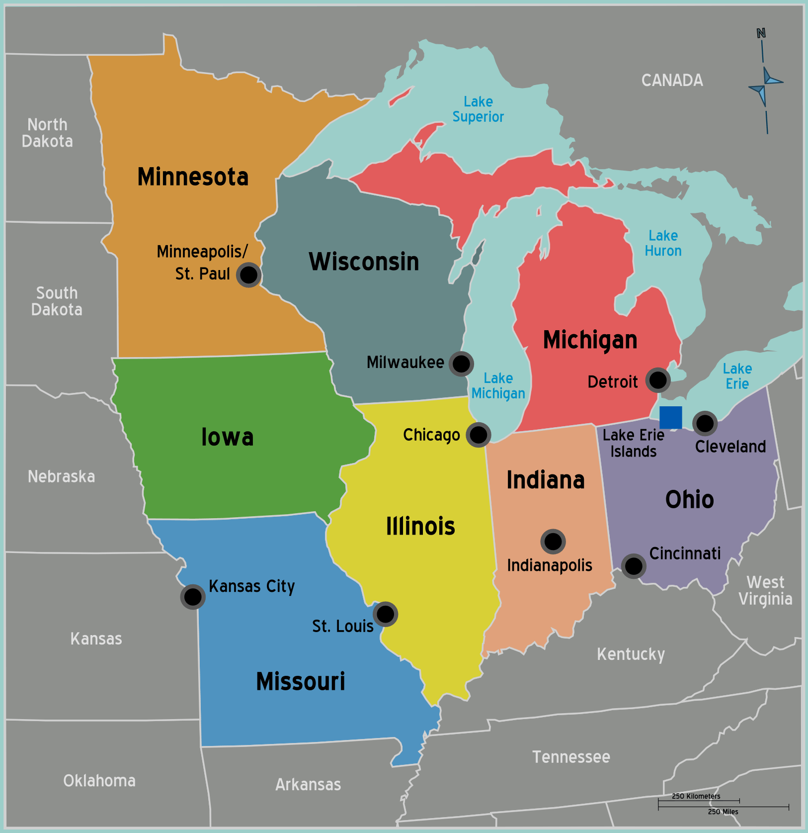 Usa Midwest Map