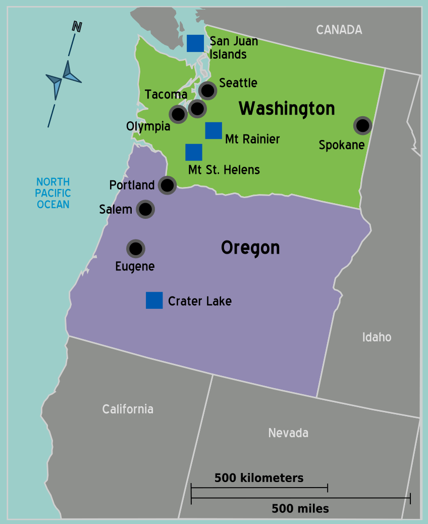 Usa Pacific Northwest Map
