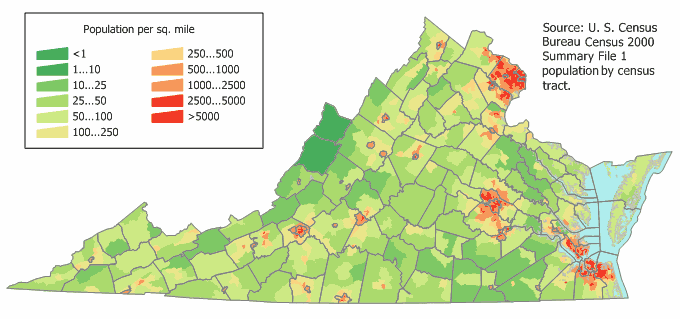 Virginia Population Map