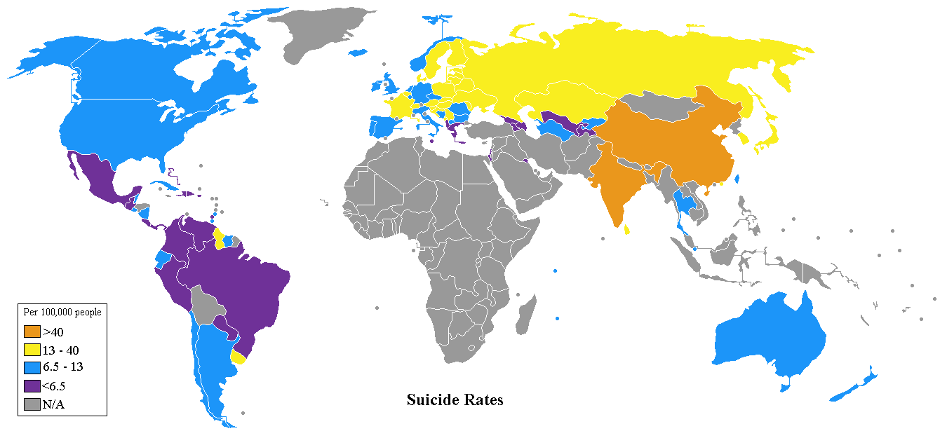 World Suicide Rates Map