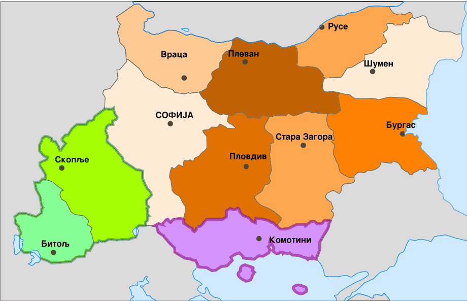 Administrative Map of Bulgaria During Wwii Sr