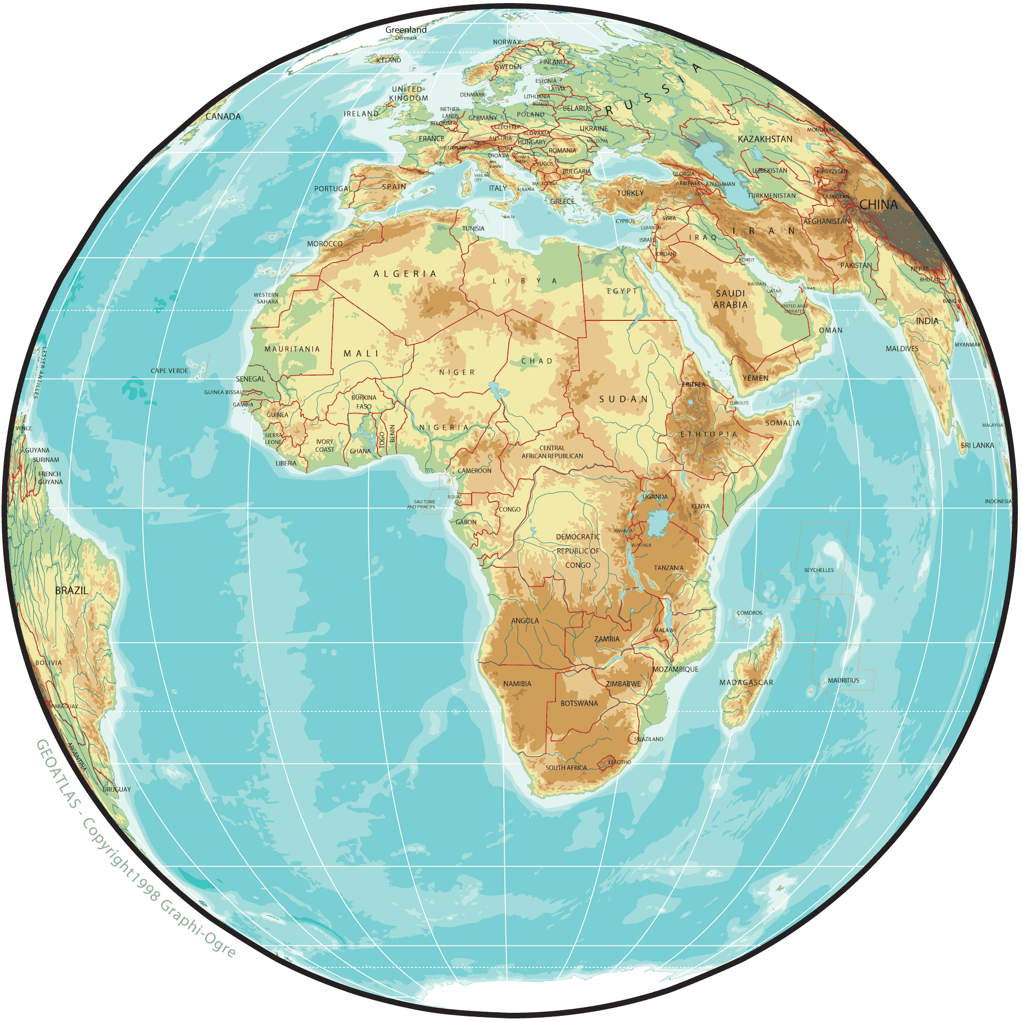 Africa Physical Map Globe