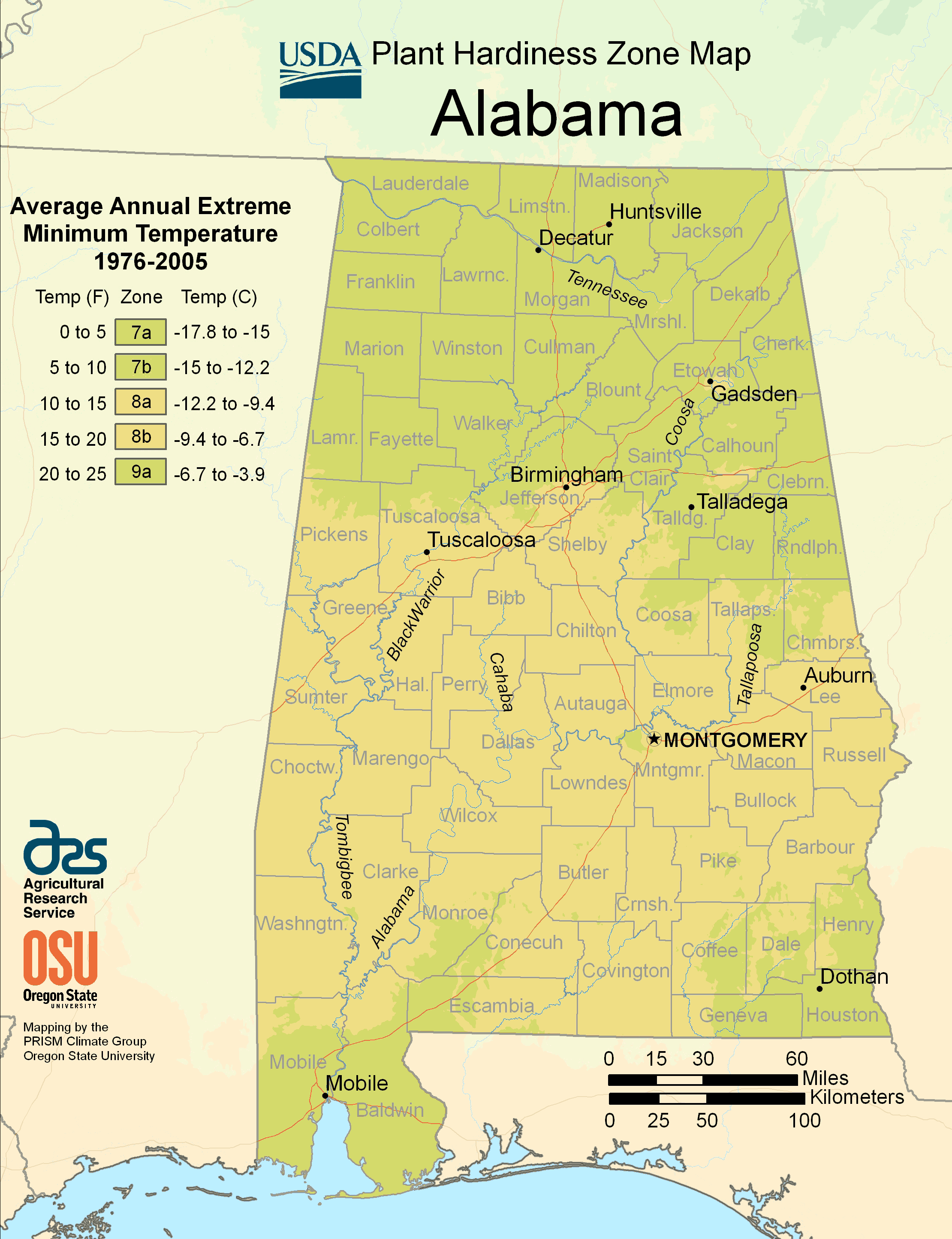 Alabama Plant Hardiness Zone Map