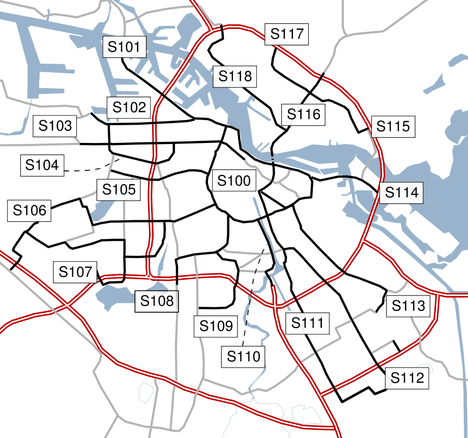 Amsterdam Outline S Roads  Numbers