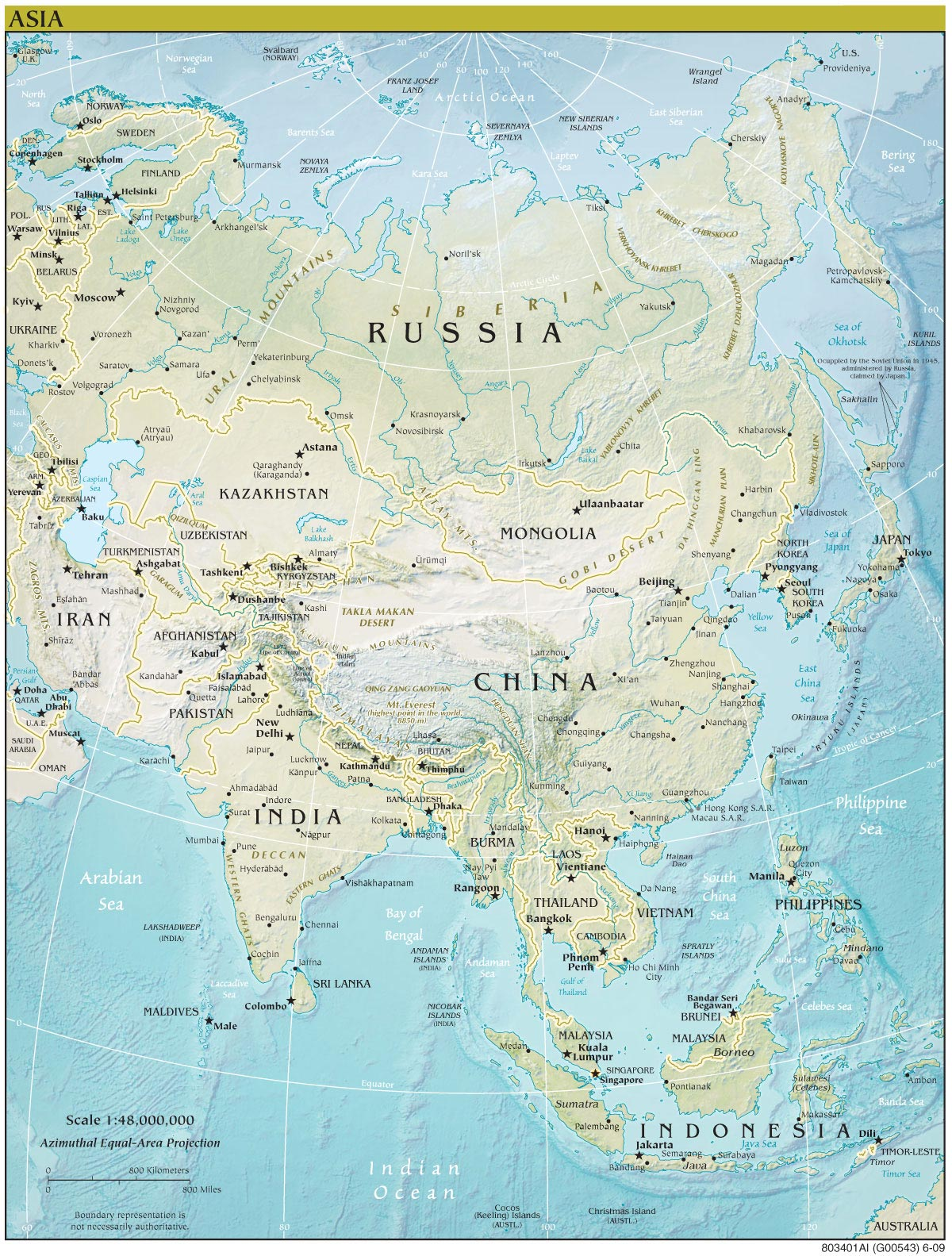 Asia Continent Physical Map