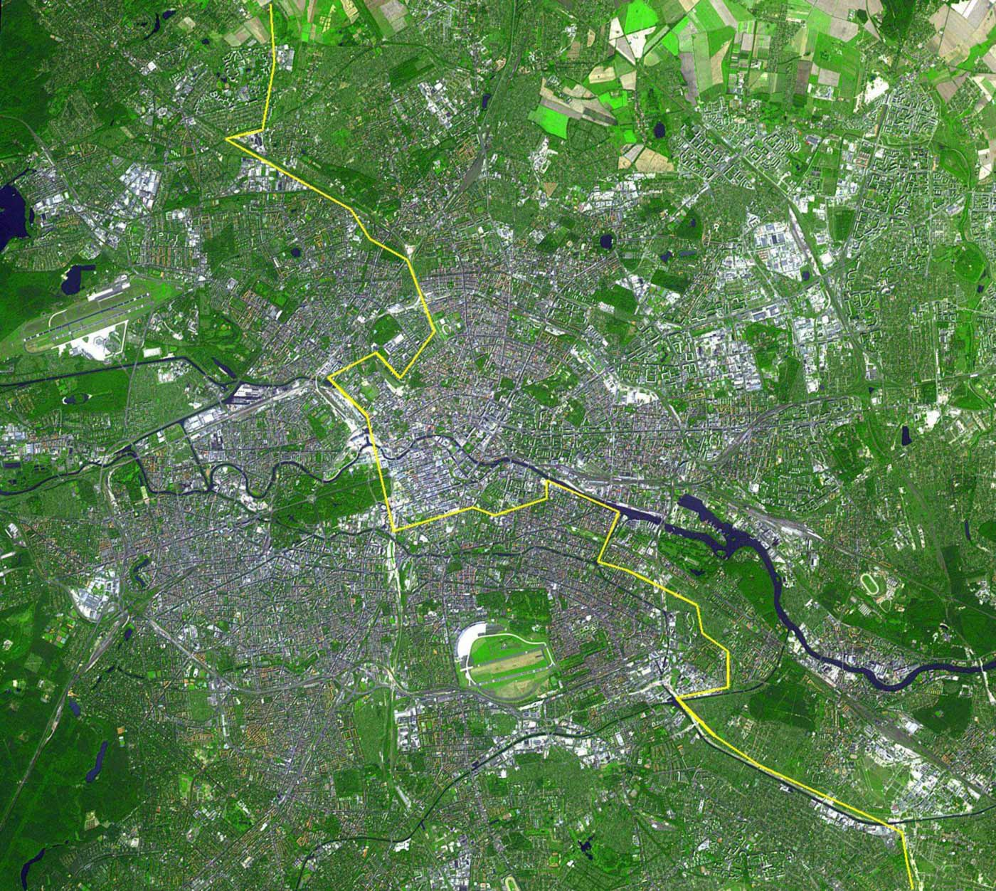 Berlin Satellite Image With Berlin Wall