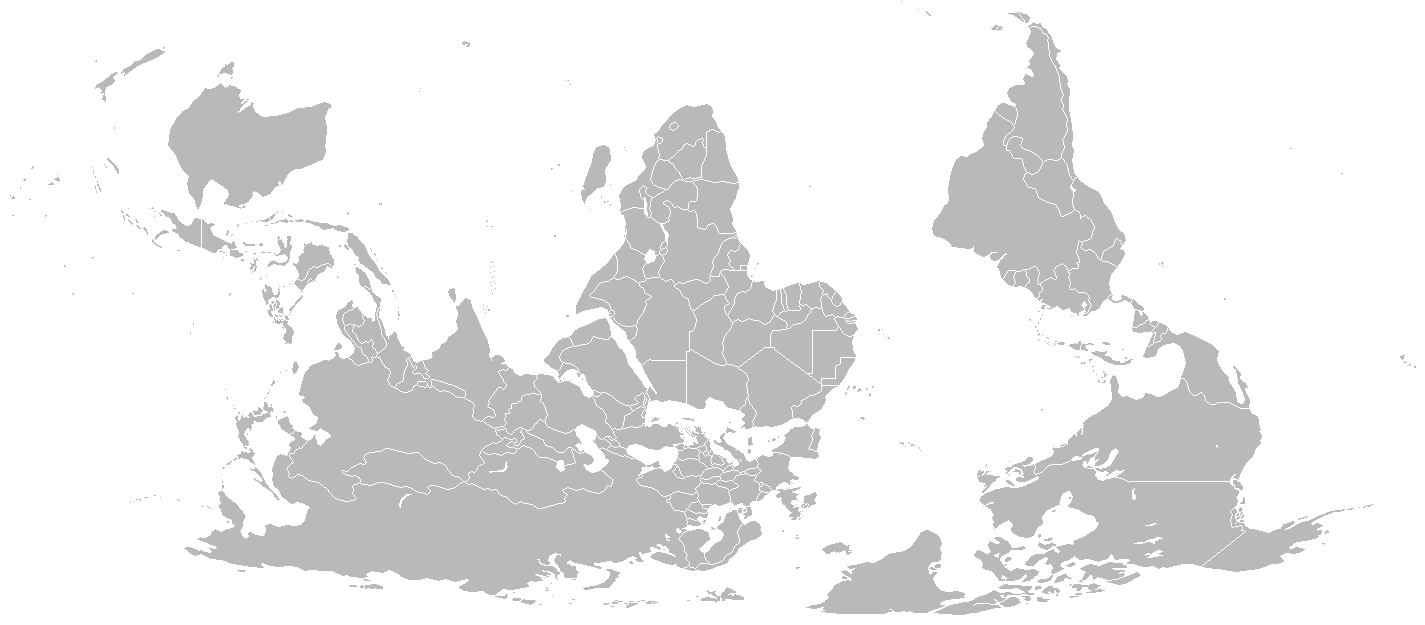 Blank Map World South Up