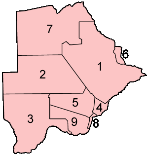 Botswana Districts Numbered