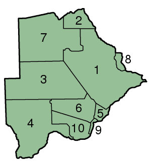 Botswana Districts Numbered 300px