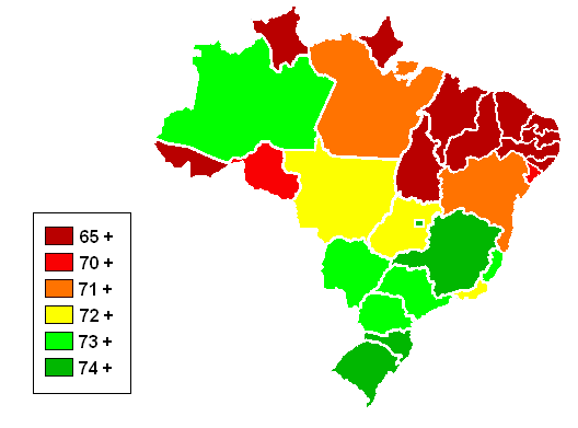 Brazilian States By Life Expectancy