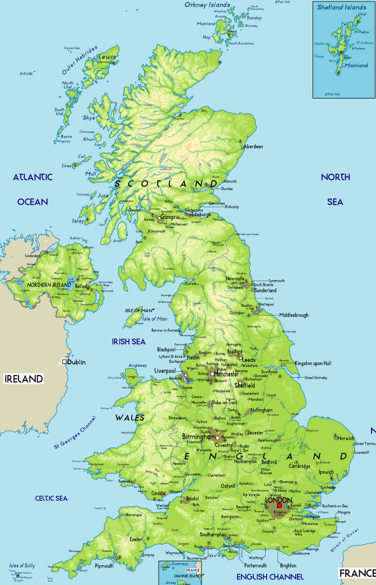 Britain Physical Map