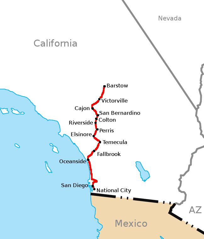 California Southern Railroad Route Map