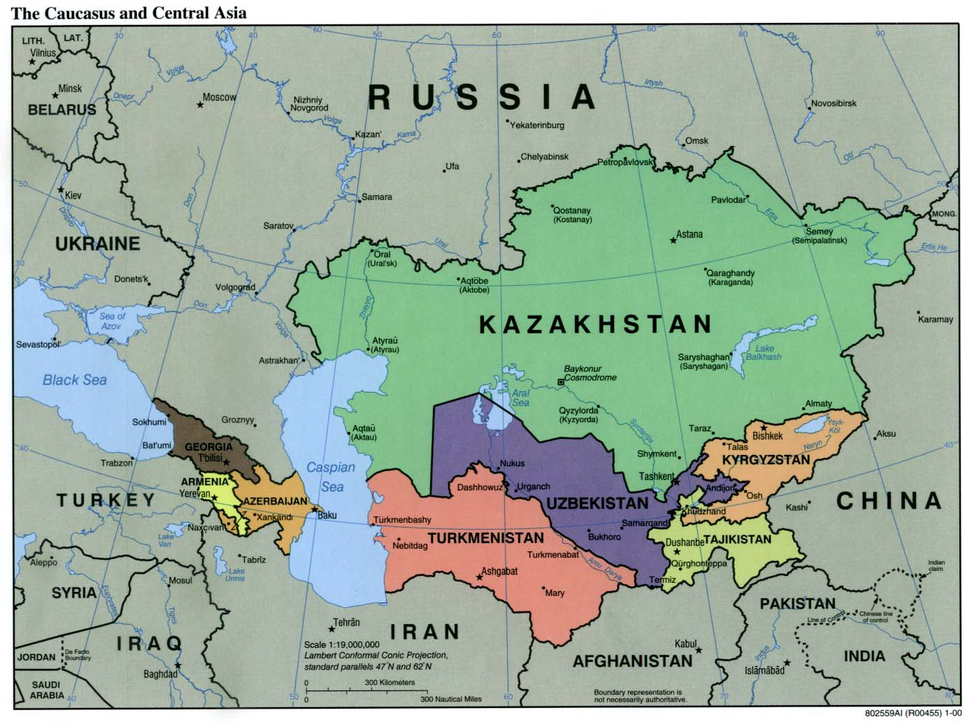 Caucasus Central Asia Political Map 2000 3