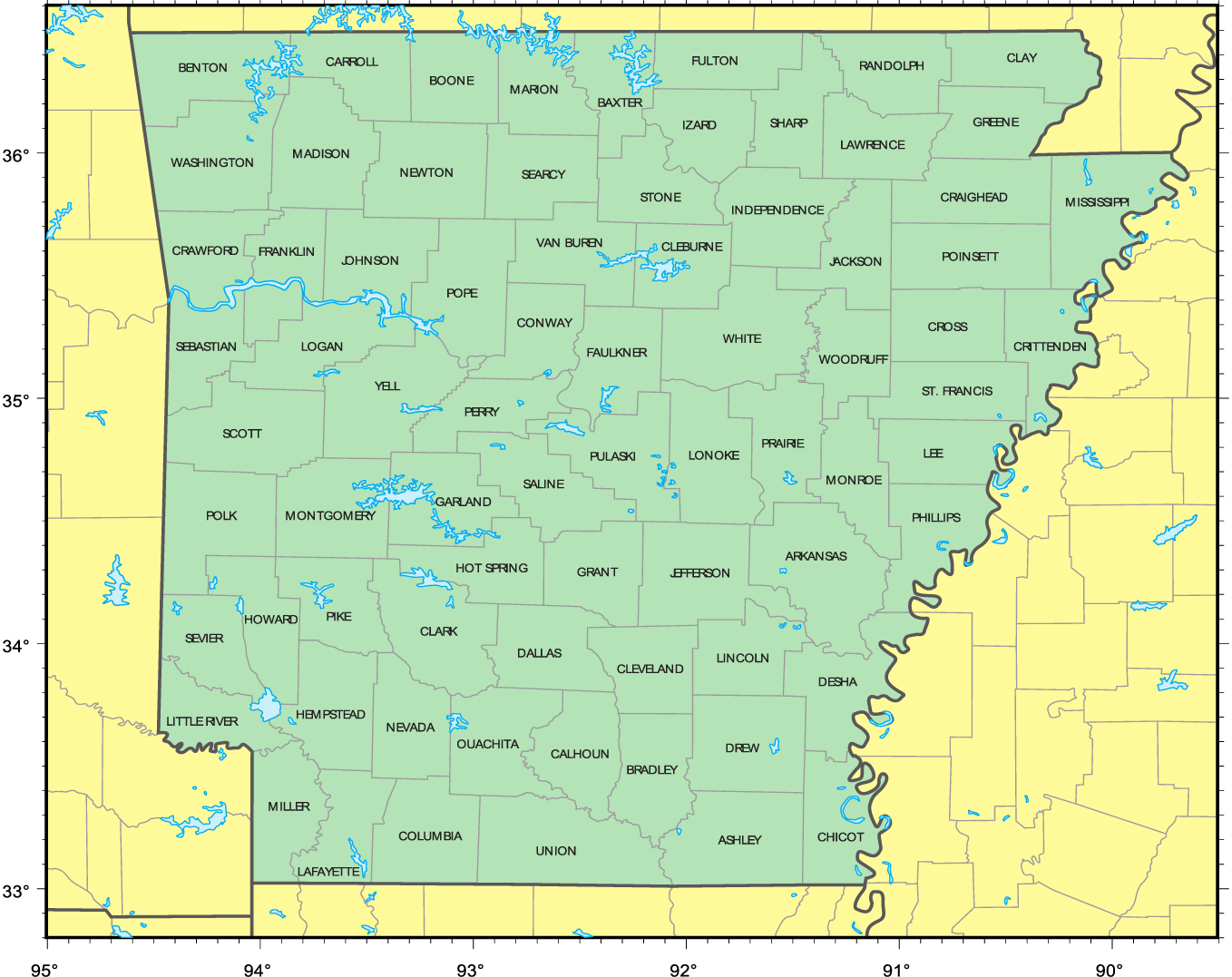 Counties Location Map of Arkansas
