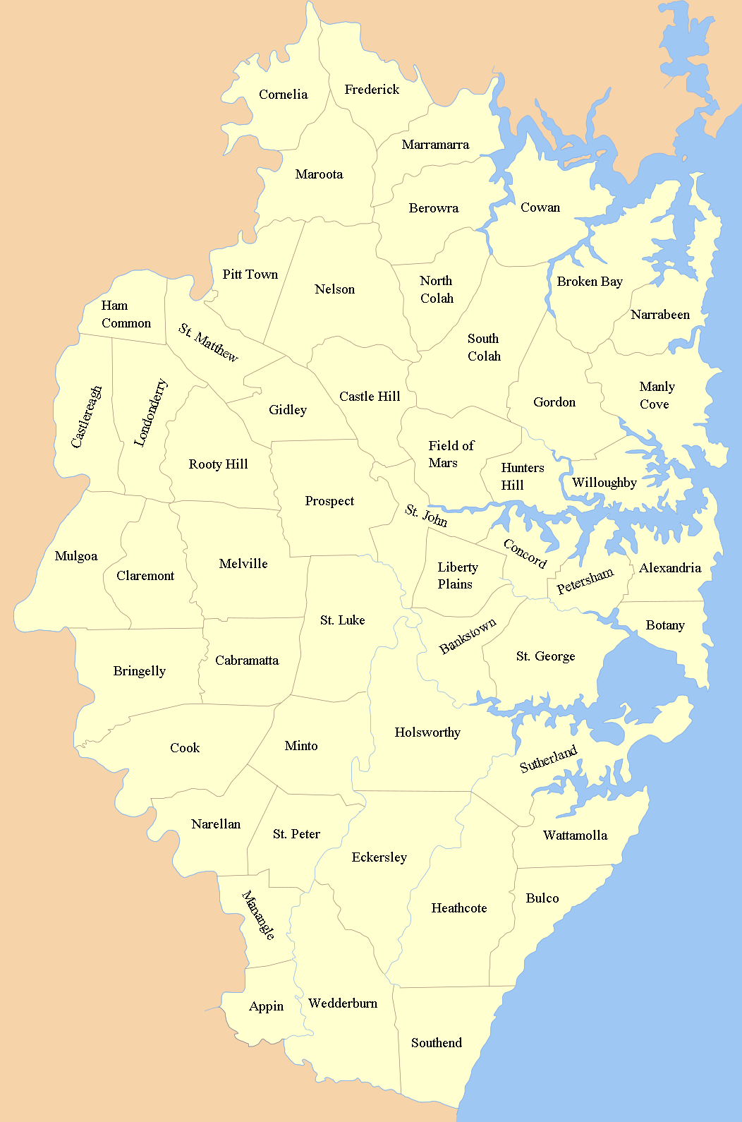 Counties Map of Sydney