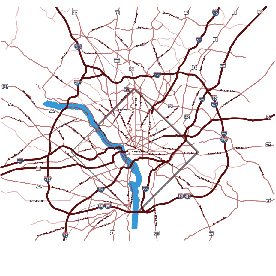 Dc Area Road Map With Fontsubset