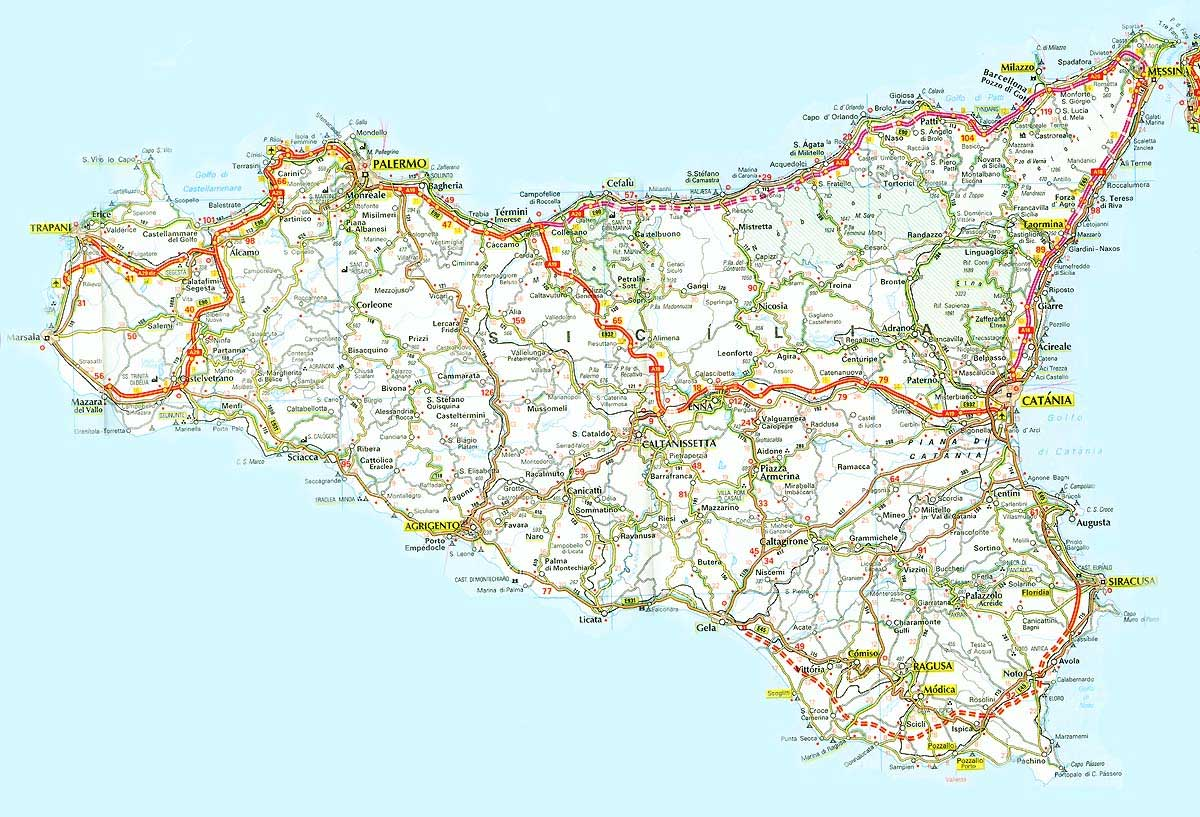 Detailed Map of Sicily