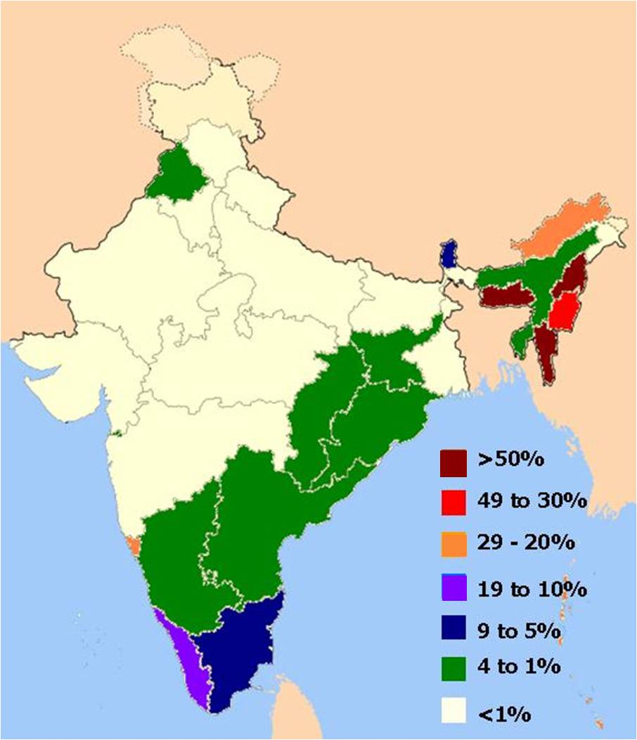 Distribution of Christians In Indian States