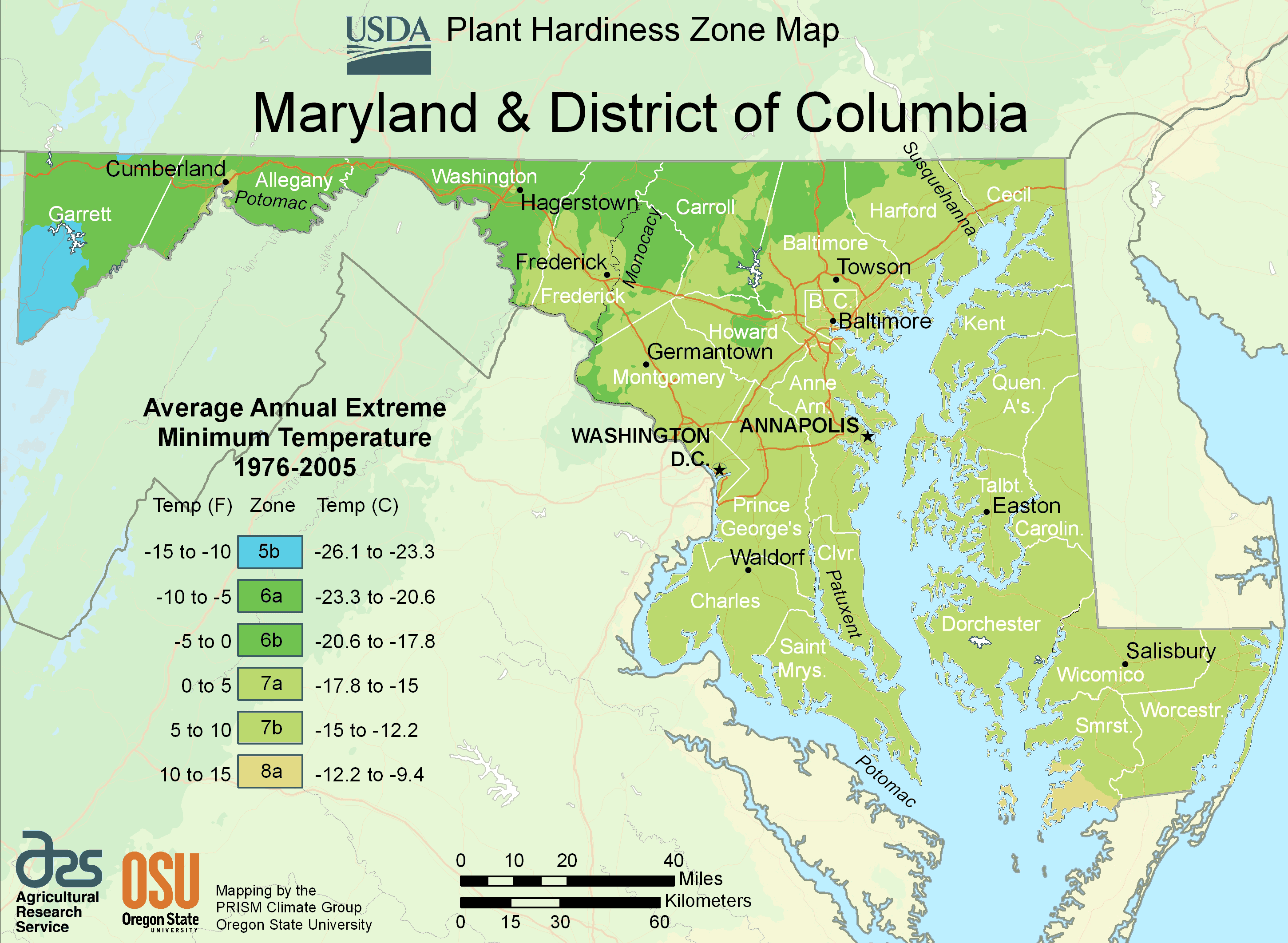 District Of Columbia Plant Hardiness Zone Map