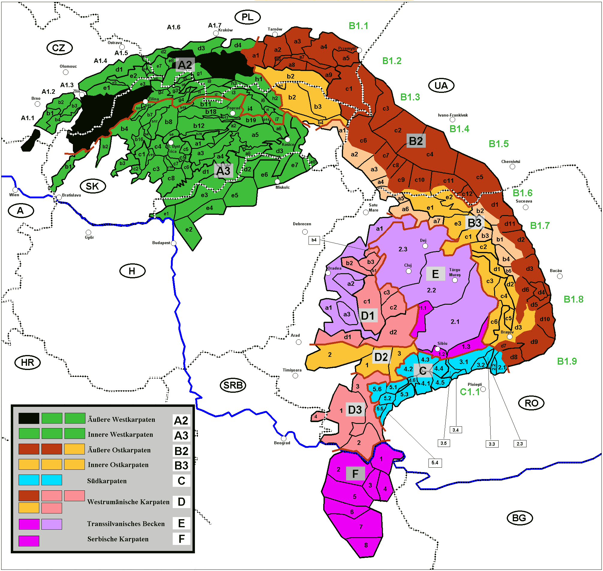 Divisions of the Carpathians