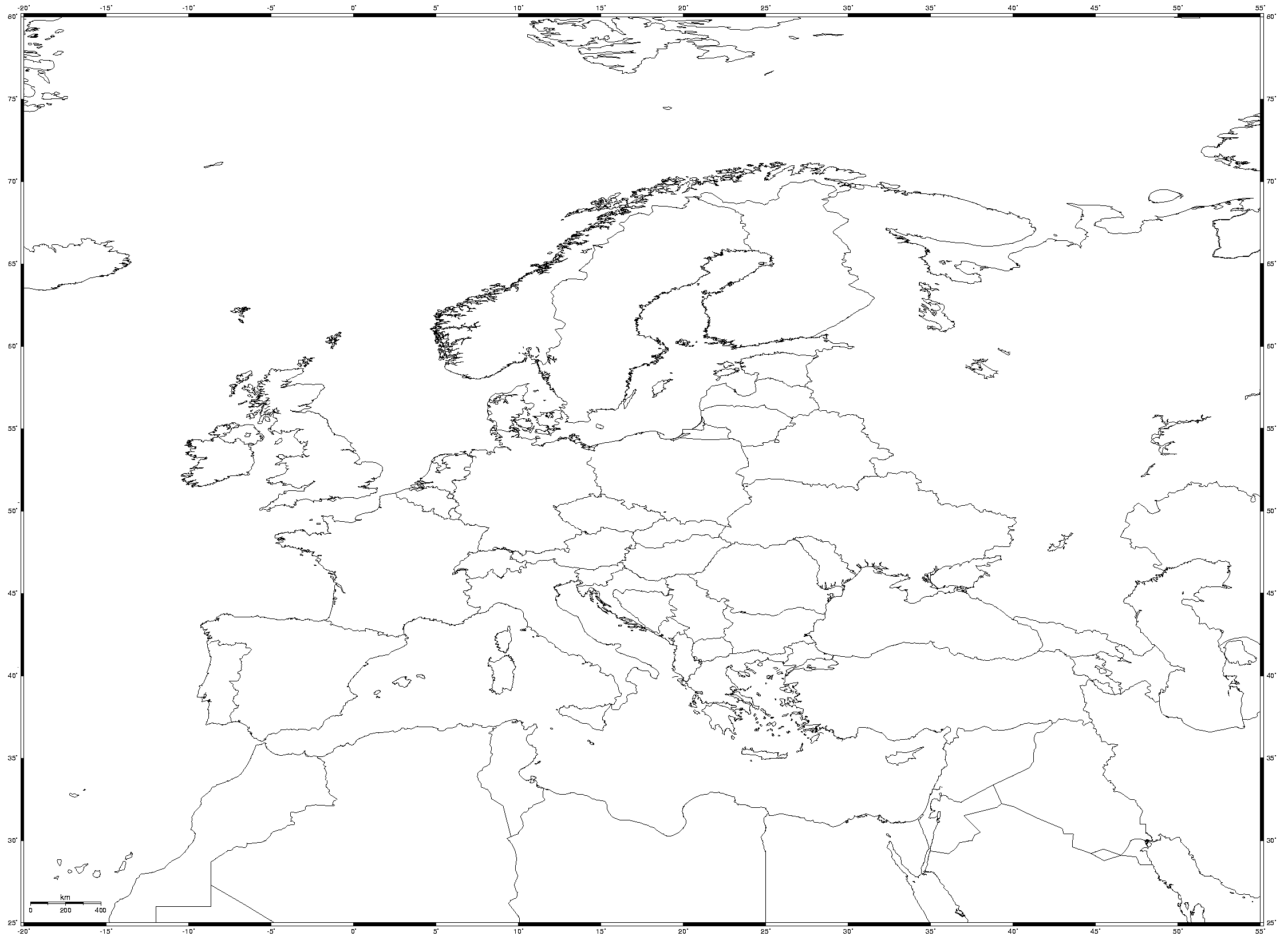 Equidistant Cylindrical Blank Map of Europe