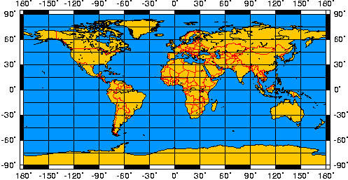 Equidistant Cylindrical Projection Earth