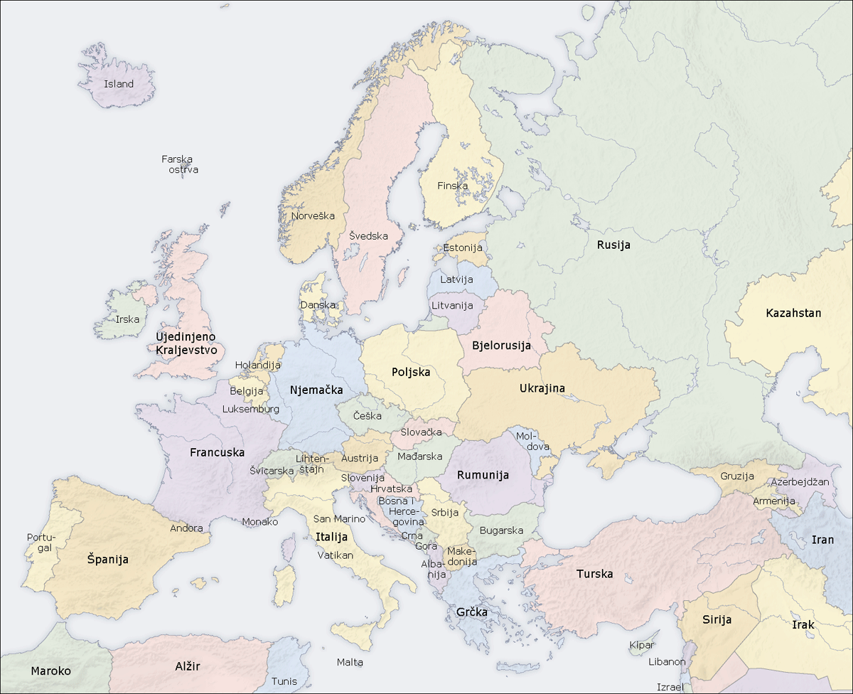 Europe Countries Map Bs