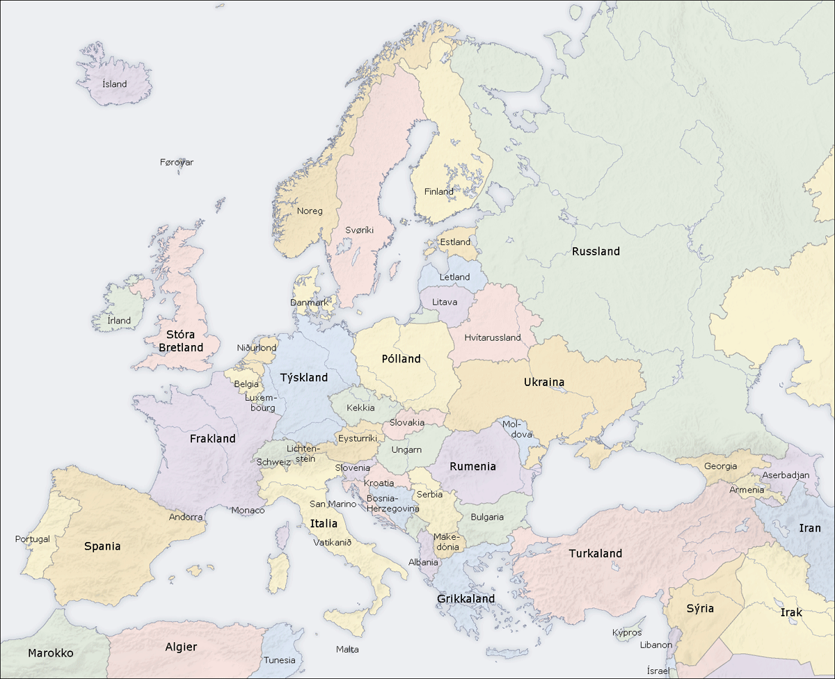 Europe Countries Map Fo