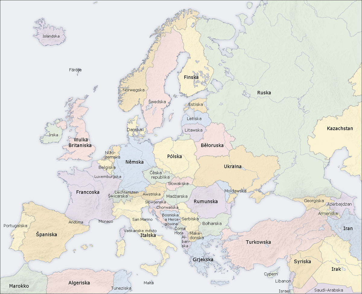 Europe Countries Map Hsb