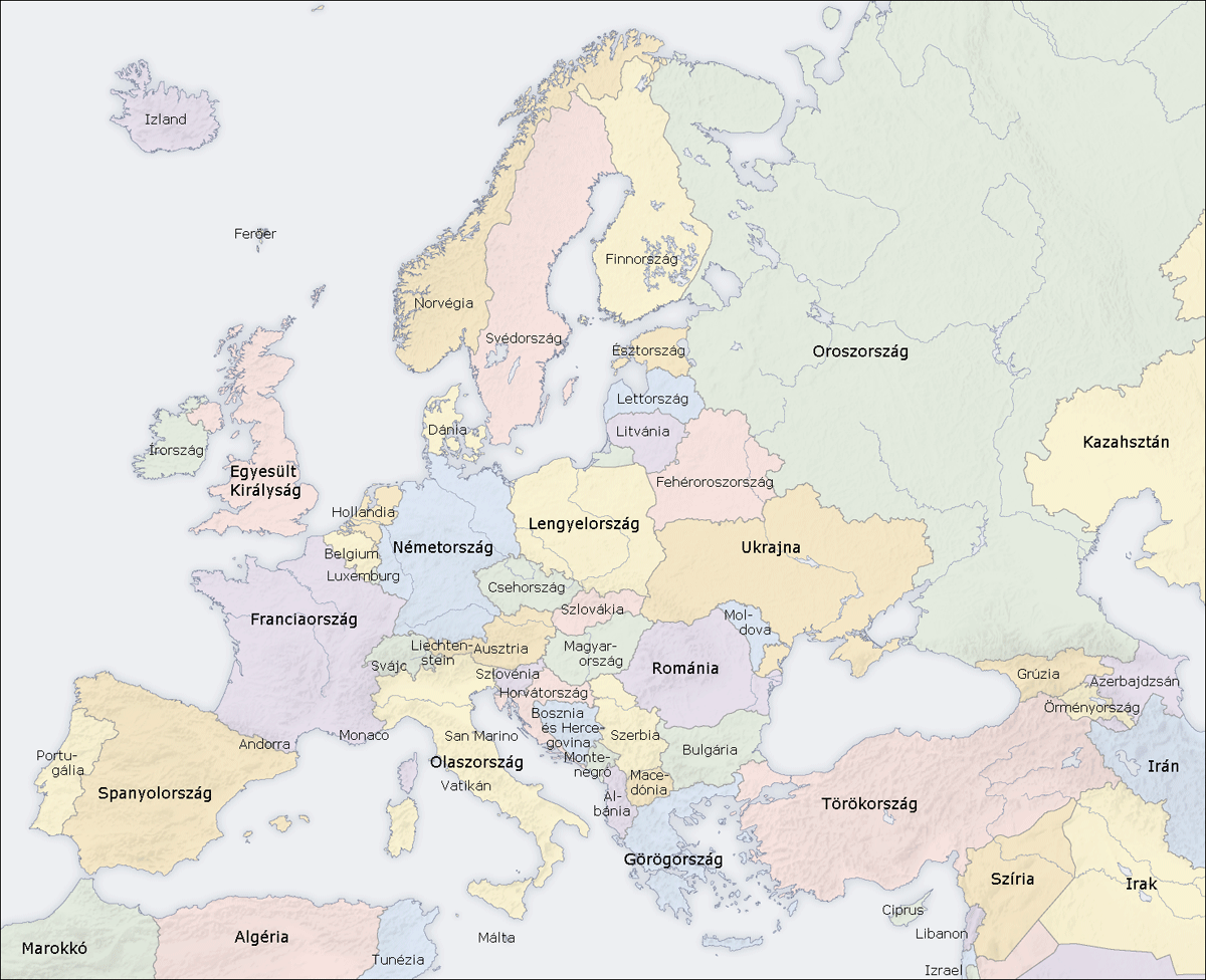 Europe Countries Map Hu
