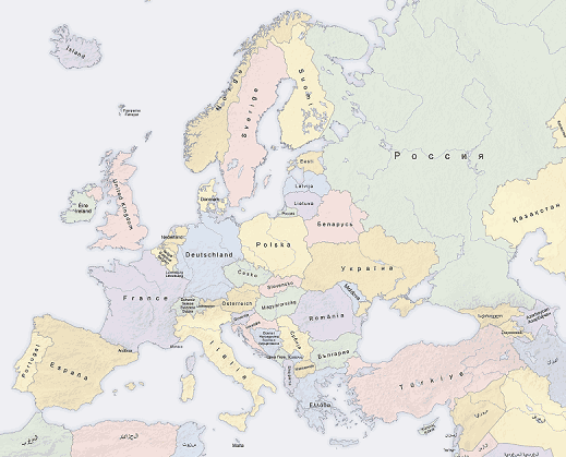 Europe Countries Map Local Lang 1
