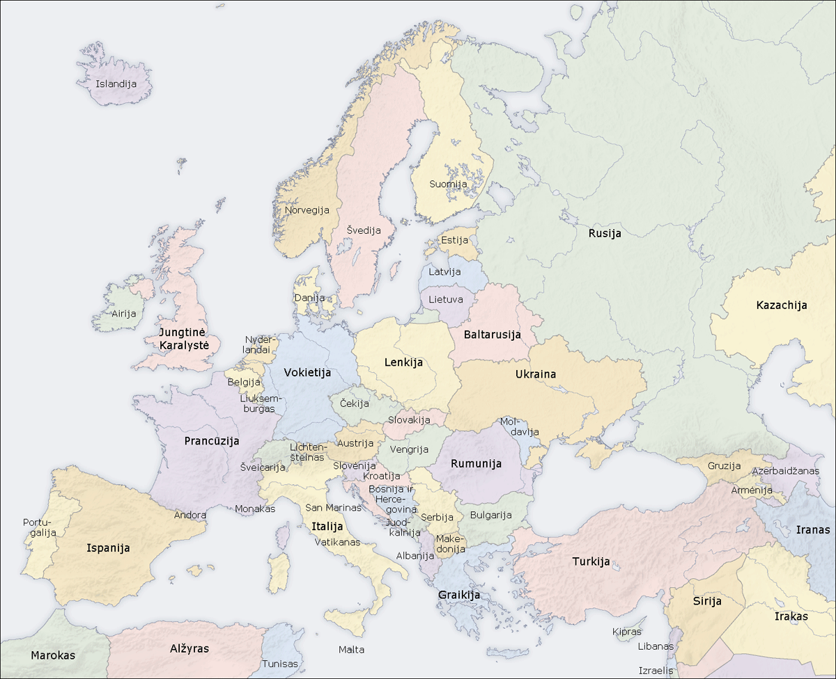 Europe Countries Map Lt
