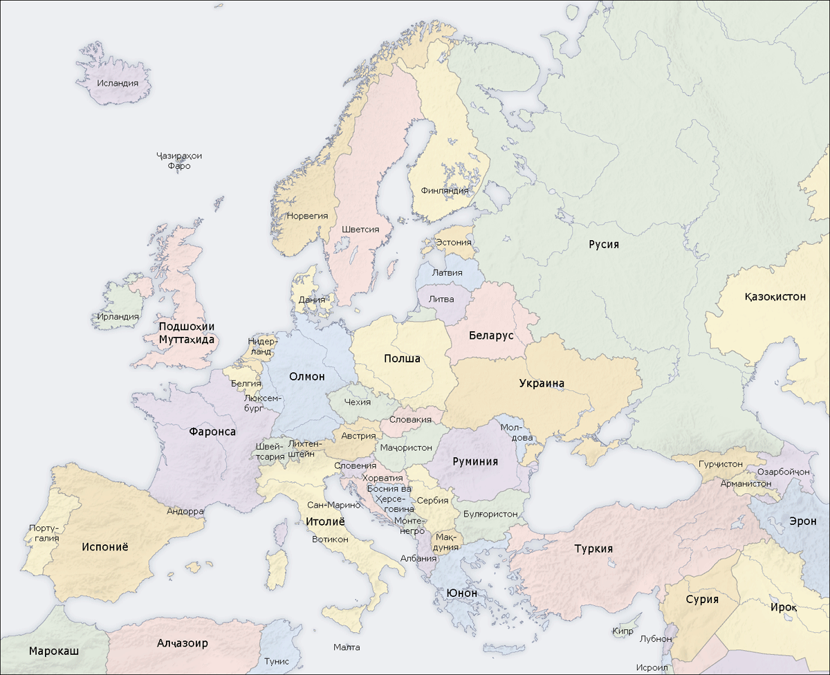 Europe Countries Map Tg