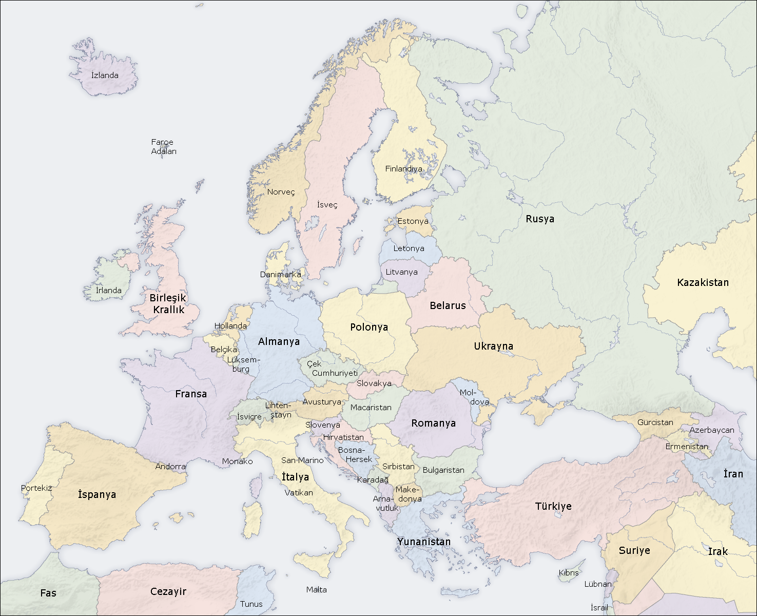Europe Countries Map Tr